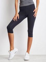Grafitowe krótkie legginsy do biegania o średniej grubości