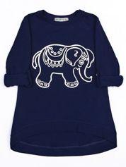 Granatowa bawełniana tunika dziewczęca ze srebrnym słoniem