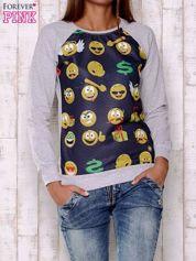 Granatowa bluza damska z nadrukiem emotikonów