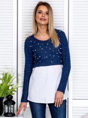 Granatowa bluzka z koszulą i perełkami
