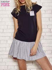 Granatowa dresowa sukienka tenisowa z kieszonką