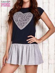 Granatowa dresowa sukienka tenisowa z sercem