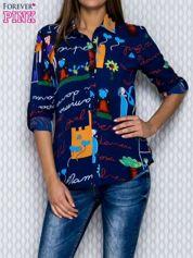 Granatowa koszula damska w kreskówkowe wzory i napisy