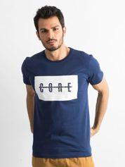 Granatowa męska koszulka z printem