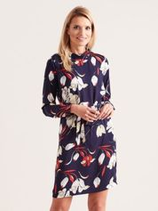 Granatowa sukienka w kwiaty ze stójką