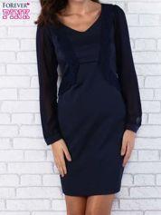 Granatowa sukienka z długimi transparentnymi rękawami