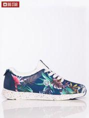 Granatowe sportowe buty Big Star na sprężystej podeszwie z kwiatowym motywem