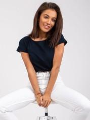 Granatowy t-shirt damski z bawełny