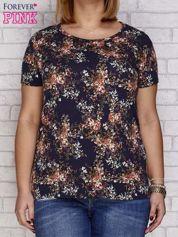 Granatowy t-shirt motyw kwiatowy PLUS SIZE