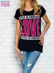 Granatowy t-shirt z napisem STYLE IS FOREVER LOVE z dżetami