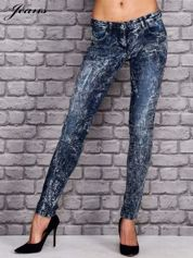 JEANS Ciemnoniebieskie spodnie jeansowe acid wash