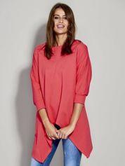 Jasnoczerwona bluza z dłuższymi połami