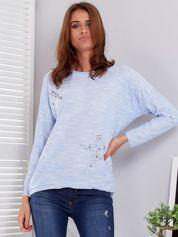 Jasnoniebieska melanżowa bluzka z gwiazdkami z dżetów