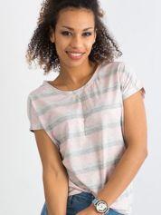 Jasnoróżowy t-shirt w paski