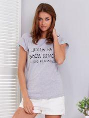 Jasnoszary t-shirt JESTEM NA DWÓCH DIETACH