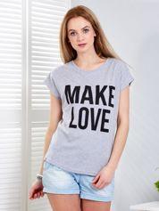 Jasnoszary t-shirt MAKE LOVE