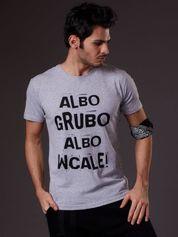Jasnoszary t-shirt męski ALBO GRUBO ALBO WCALE