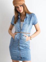 Jeansowa sukienka z suwakiem niebieska
