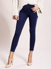 Jeansowe spodnie high waist ciemnoniebieskie
