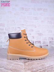 Karmelowe buty trekkingowe damskie traperki ocieplane z brązową cholewką