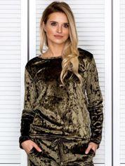 Khaki aksamitna bluza damska