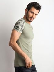 Khaki bawełniany t-shirt męski