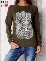 Khaki bluza z motywem dłoni