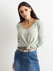 Khaki bluzka damska z błyszczącą nicią