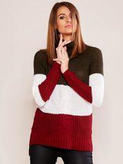 Khaki-bordowy sweter golf