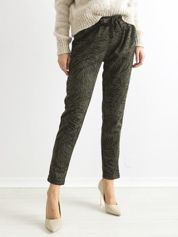 Khaki luźne spodnie w zwierzęce wzory