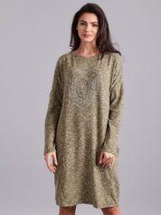 Khaki melanżowa sukienka z aplikacją