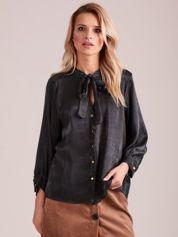 Khaki satynowa bluzka z wiązaniem