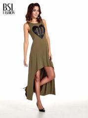 Khaki sukienka z dłuższym tyłem
