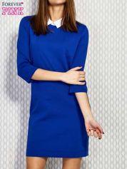 Kobaltowa sukienka z kołnierzykiem