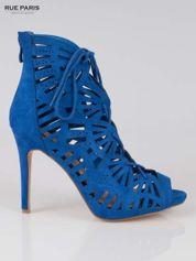 Kobaltowe ażurowe botki lace up