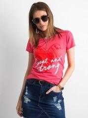 Koralowy damski t-shirt z bawełny