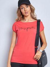 Koralowy t-shirt Sunny