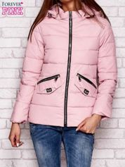 Lekka przejściowa kurtka z odpinanym kapturem różowa