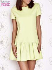 Limonkowa dresowa sukienka z wycięciem na plecach