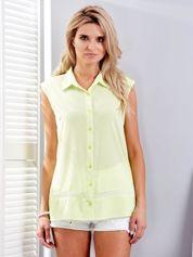 Limonkowa koszula z ażurową wstawką