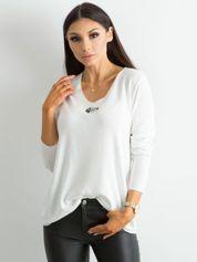 Luźna bluzka z długim rękawem biała