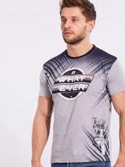 Męski bawełniany t-shirt z printem szary