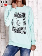 Miętowa bluza z napisem PARADISE