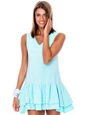 Miętowa sukienka z warstwowymi falbanami
