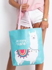 Miętowo-różowa torba z nadrukiem