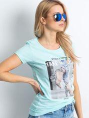 Miętowy t-shirt Destination