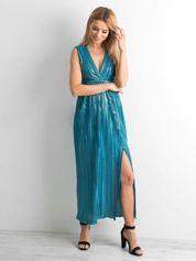 Morska plisowana sukienka maxi