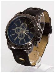 N&K Zegarek męski. Duża tarcza z ozdobnym tachometrem, opalizujące szkiełko oraz oryginalny pasek z wycięciami