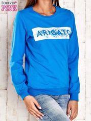 Niebieska bluza z napisem ARIGATO