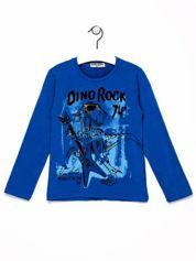 Niebieska bluzka chłopięca z dinozaurem